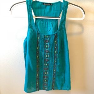 Ella Moss blue embroidered tank top